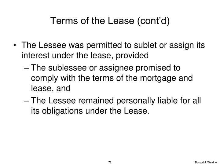 Terms of the Lease (cont'd)