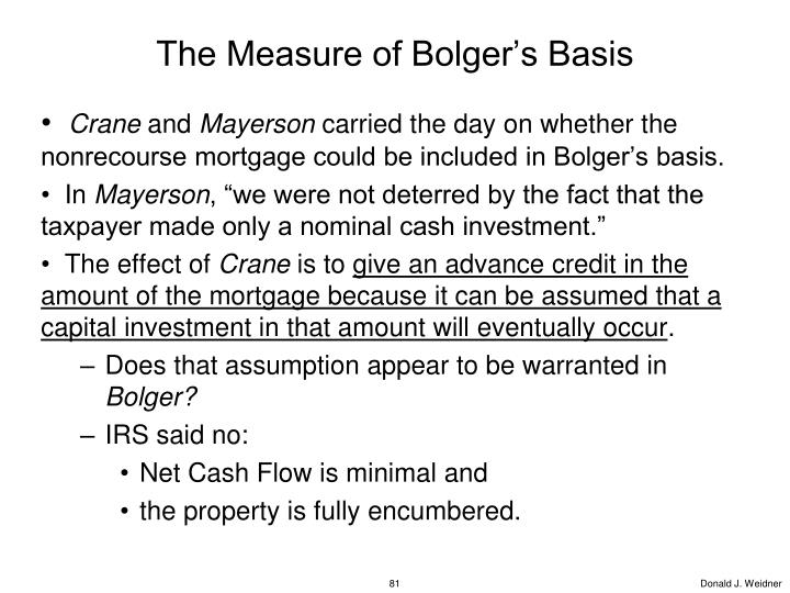 The Measure of Bolger's Basis