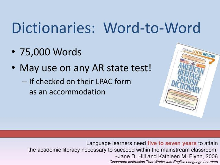 Dictionaries:  Word-to-Word