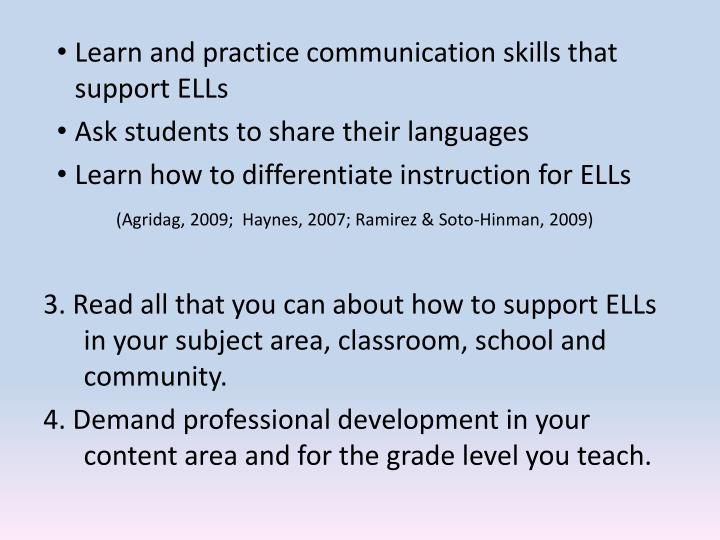 Learn and practice communication skills that support ELLs