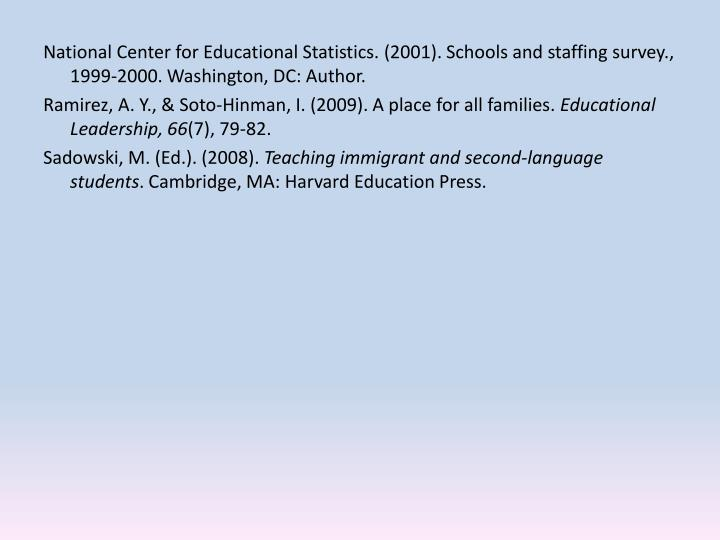 National Center for Educational Statistics. (2001). Schools and staffing survey., 1999-2000. Washington, DC: Author.