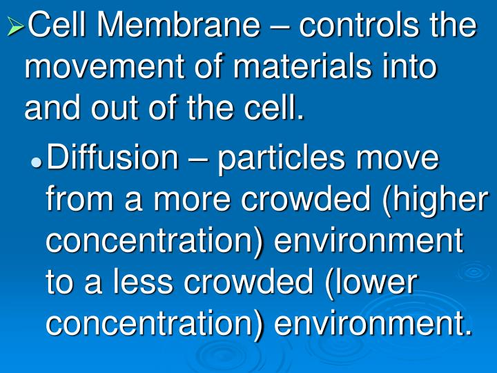 Cell Membrane – controls the movement of materials into and out of the cell.