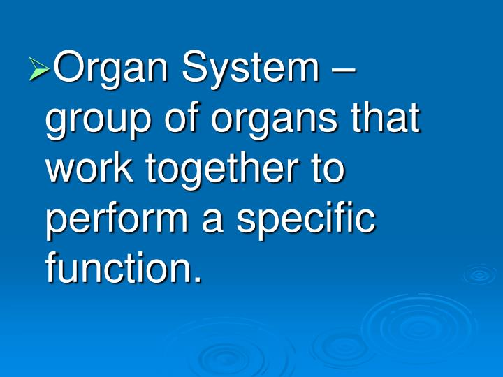 Organ System – group of organs that work together to perform a specific function.