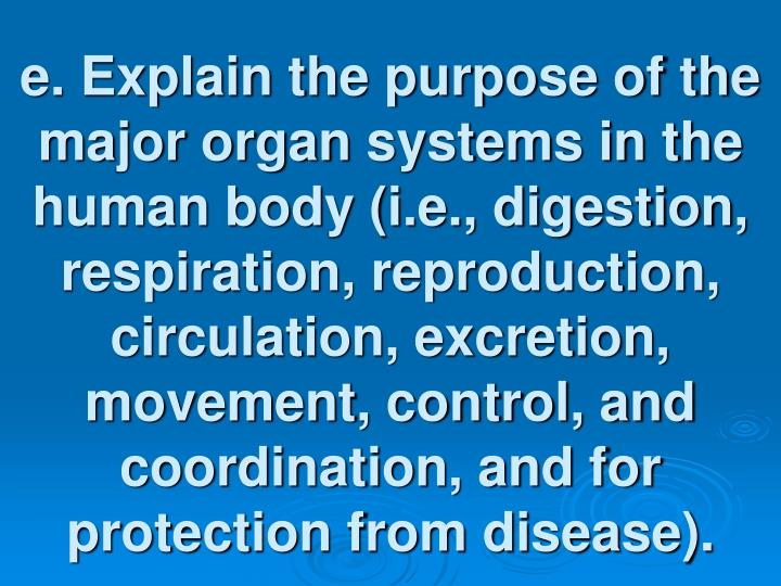 e. Explain the purpose of the major organ systems in the human body (i.e., digestion, respiration, reproduction, circulation, excretion, movement, control, and coordination, and for protection from disease).