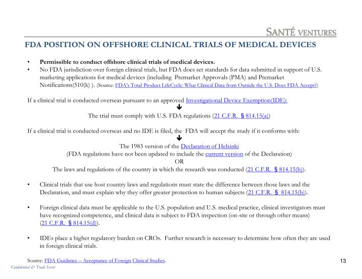 FDA POSITION ON OFFSHORE CLINICAL TRIALS OF MEDICAL DEVICES