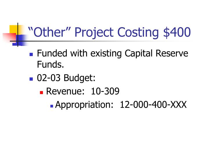 """Other"" Project Costing $400"