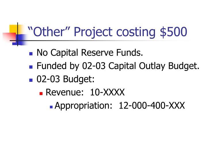 """Other"" Project costing $500"