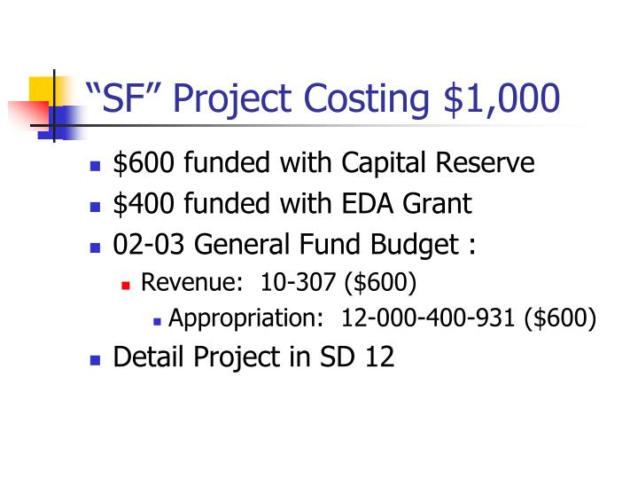 """SF"" Project Costing $1,000"