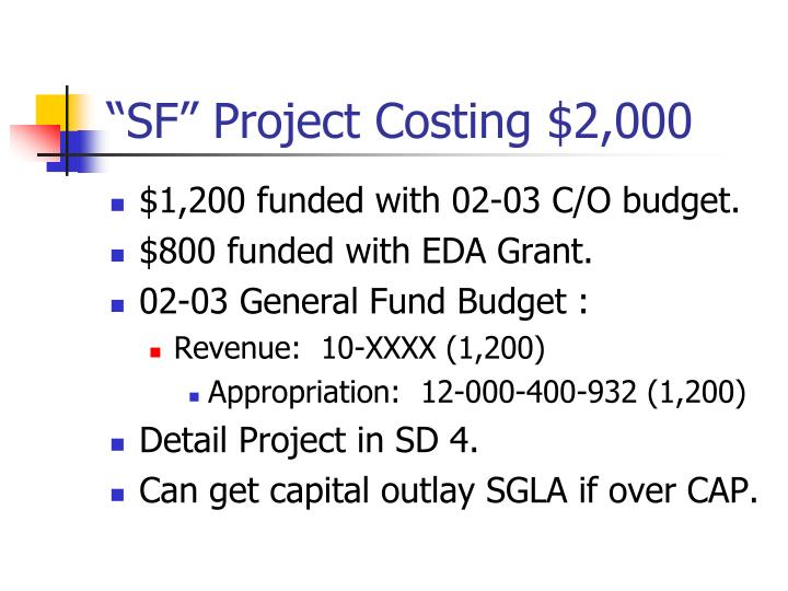 """SF"" Project Costing $2,000"