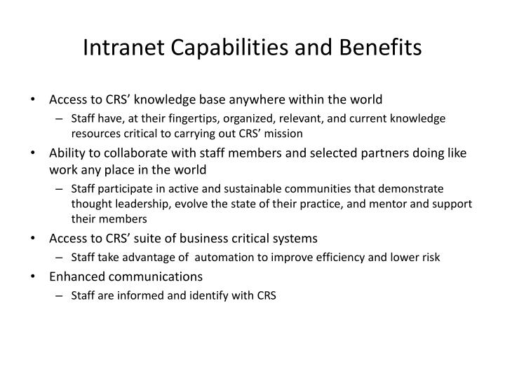 Intranet Capabilities and Benefits