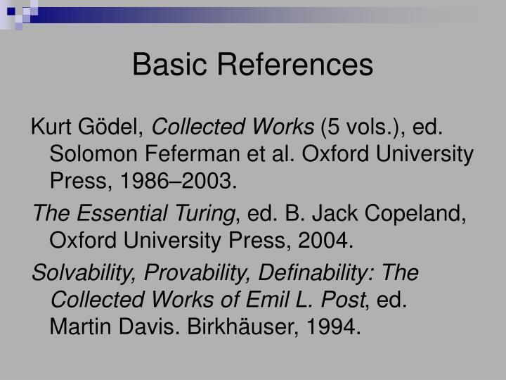 Basic References