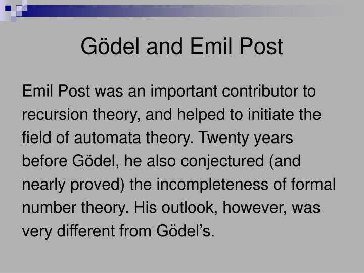 Gödel and Emil Post