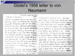 g del s 1956 letter to von neumann