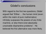 g del s conclusions