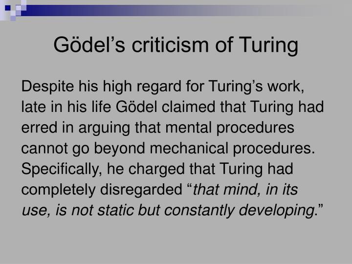 Gödel's criticism of Turing