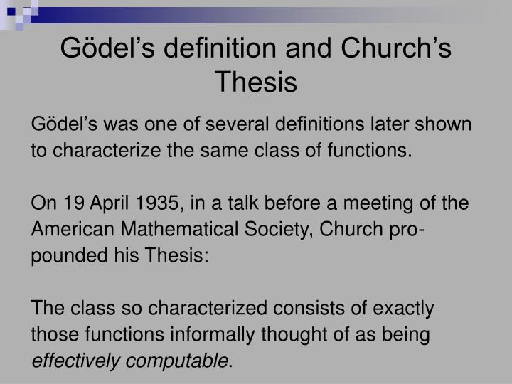 Gödel's definition and Church's Thesis