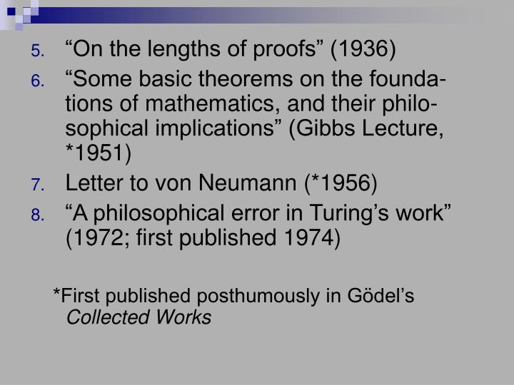 """""""On the lengths of proofs"""" (1936)"""