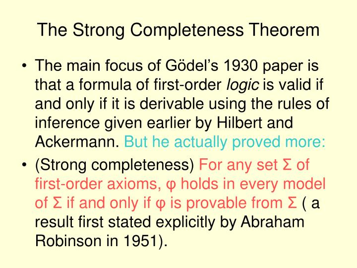 The Strong Completeness Theorem