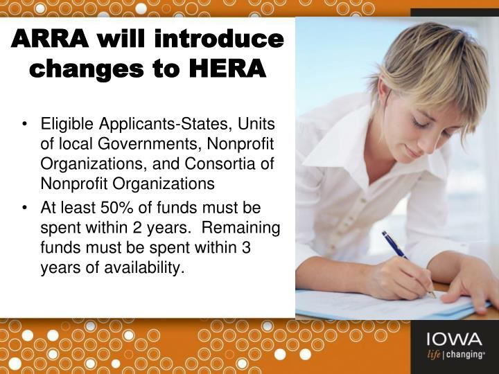ARRA will introduce changes to HERA