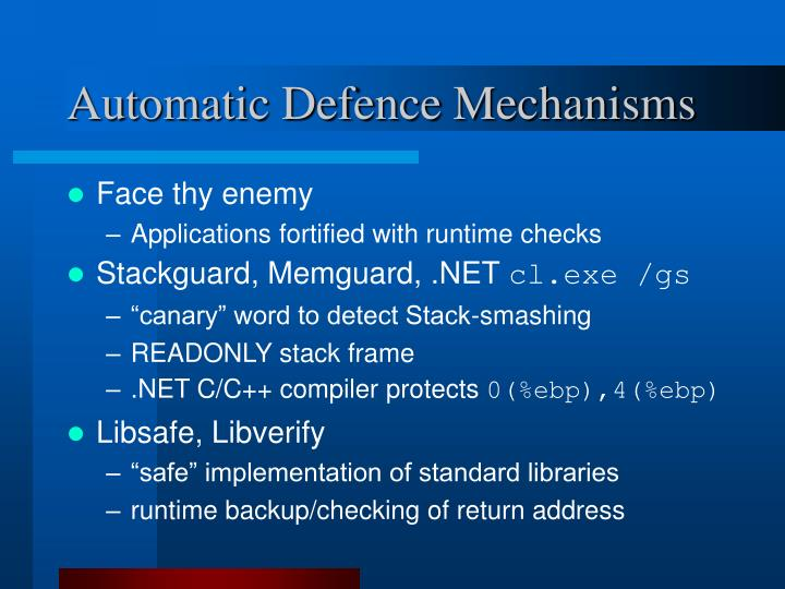 Automatic Defence Mechanisms