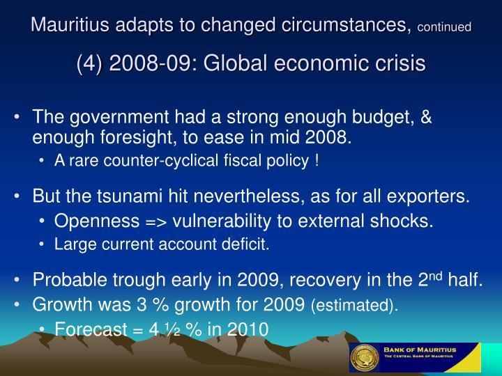 Mauritius adapts to changed circumstances,