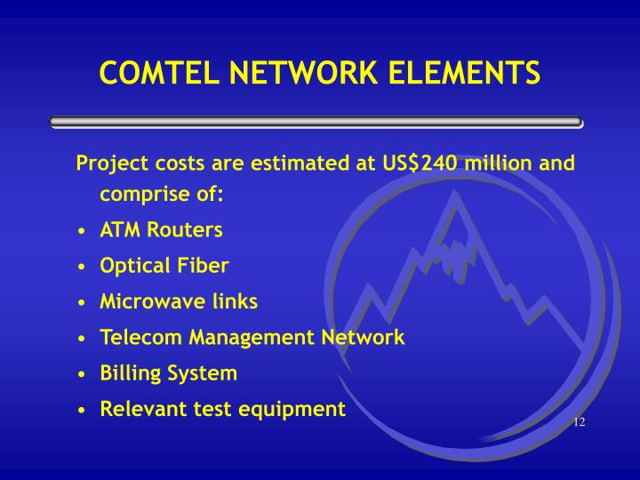 Project costs are estimated at US$240 million and comprise of: