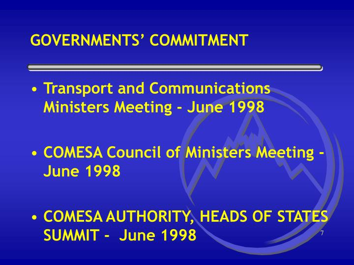 GOVERNMENTS' COMMITMENT