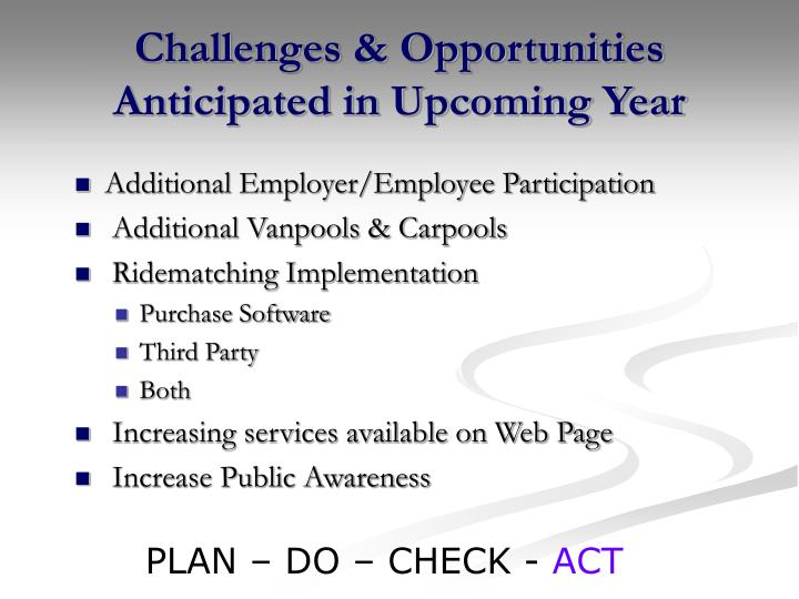 Challenges & Opportunities Anticipated in Upcoming Year