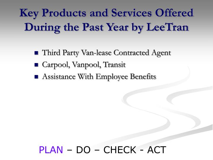 Key Products and Services Offered During the Past Year by LeeTran