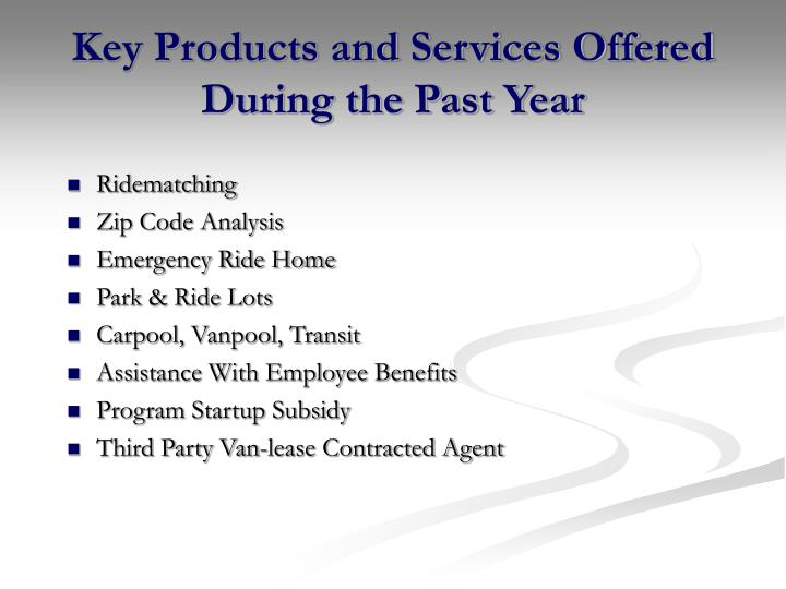 Key Products and Services Offered During the Past Year