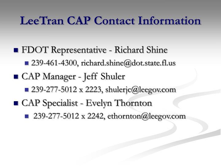 LeeTran CAP Contact Information