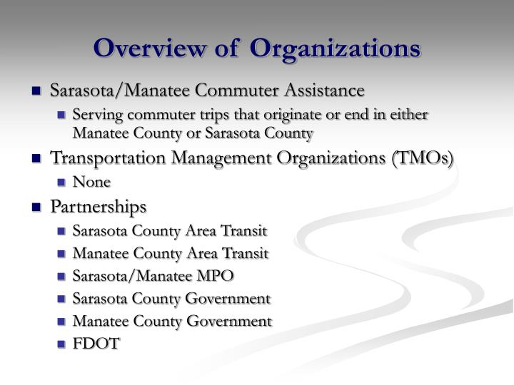 Overview of Organizations