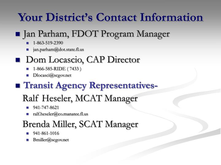 Your District's Contact Information