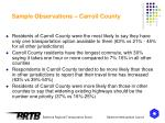 sample observations carroll county