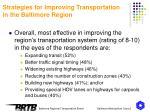 strategies for improving transportation in the baltimore region