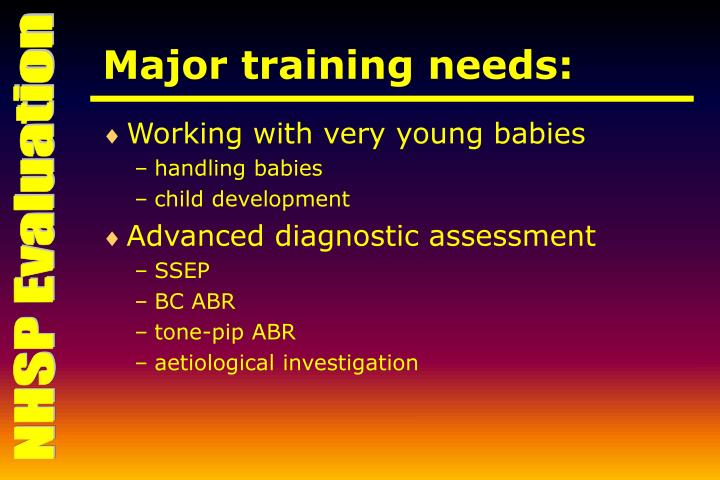 Major training needs: