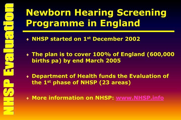 Newborn Hearing Screening Programme in England