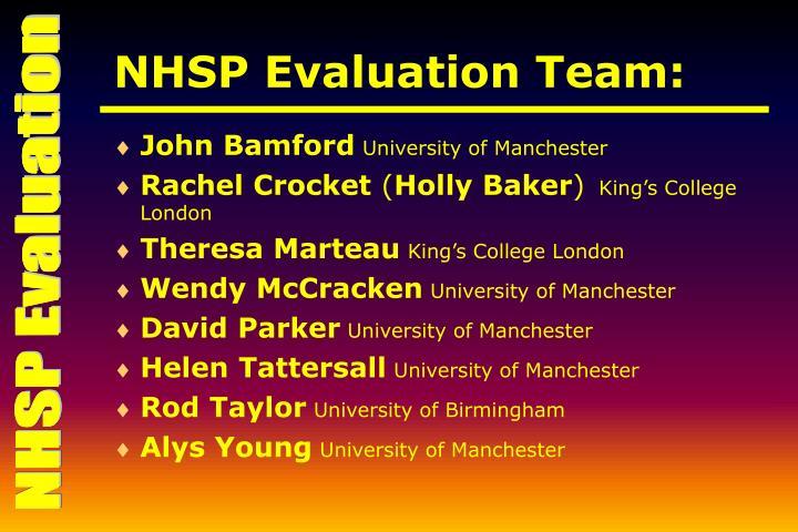 NHSP Evaluation Team: