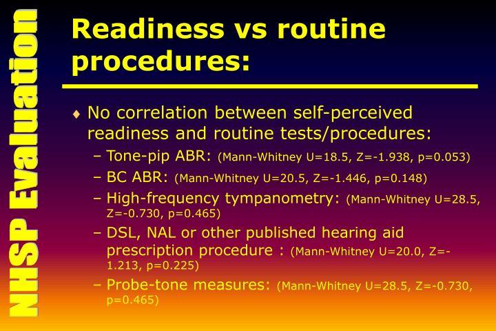 Readiness vs routine procedures:
