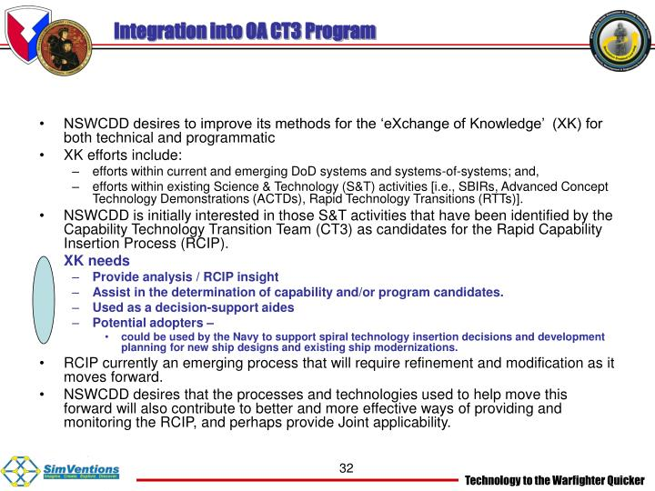 Integration into OA CT3 Program