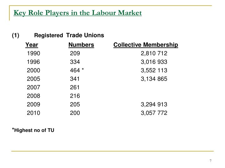 Key Role Players in the Labour Market