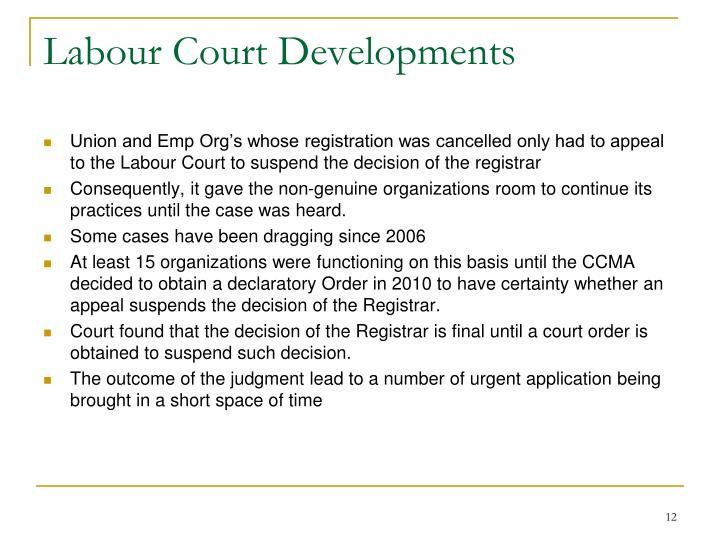 Labour Court Developments