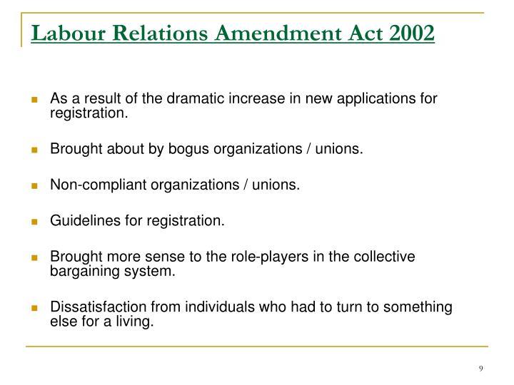 Labour Relations Amendment Act 2002