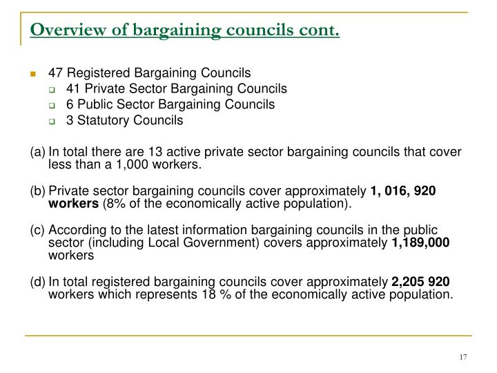 Overview of bargaining councils cont.