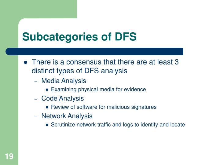 Subcategories of DFS