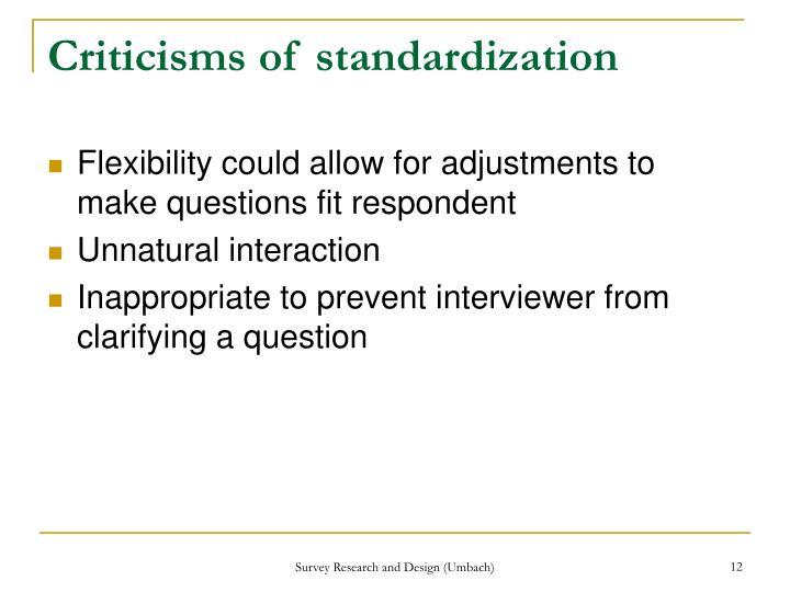 Criticisms of standardization
