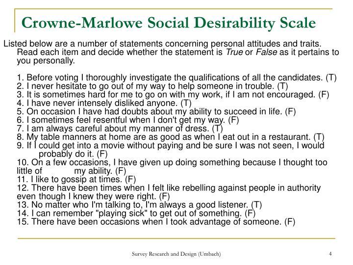 Crowne-Marlowe Social Desirability Scale