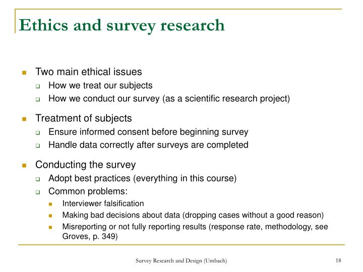 Ethics and survey research