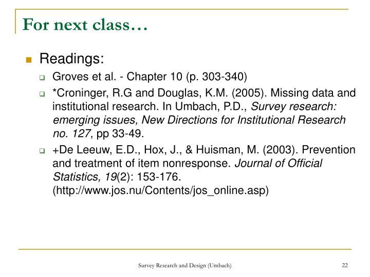 For next class…