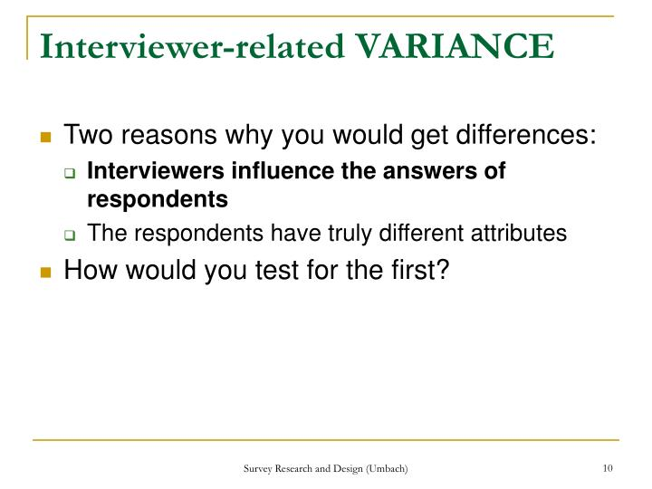 Interviewer-related VARIANCE
